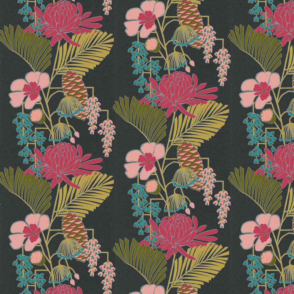 Salon Wallpaper - Ebony/ Azalea/ Fern - by Harlequin