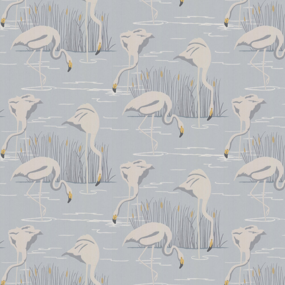 Salinas Wallpaper - Ice/ Linen/ Dijon - by Harlequin