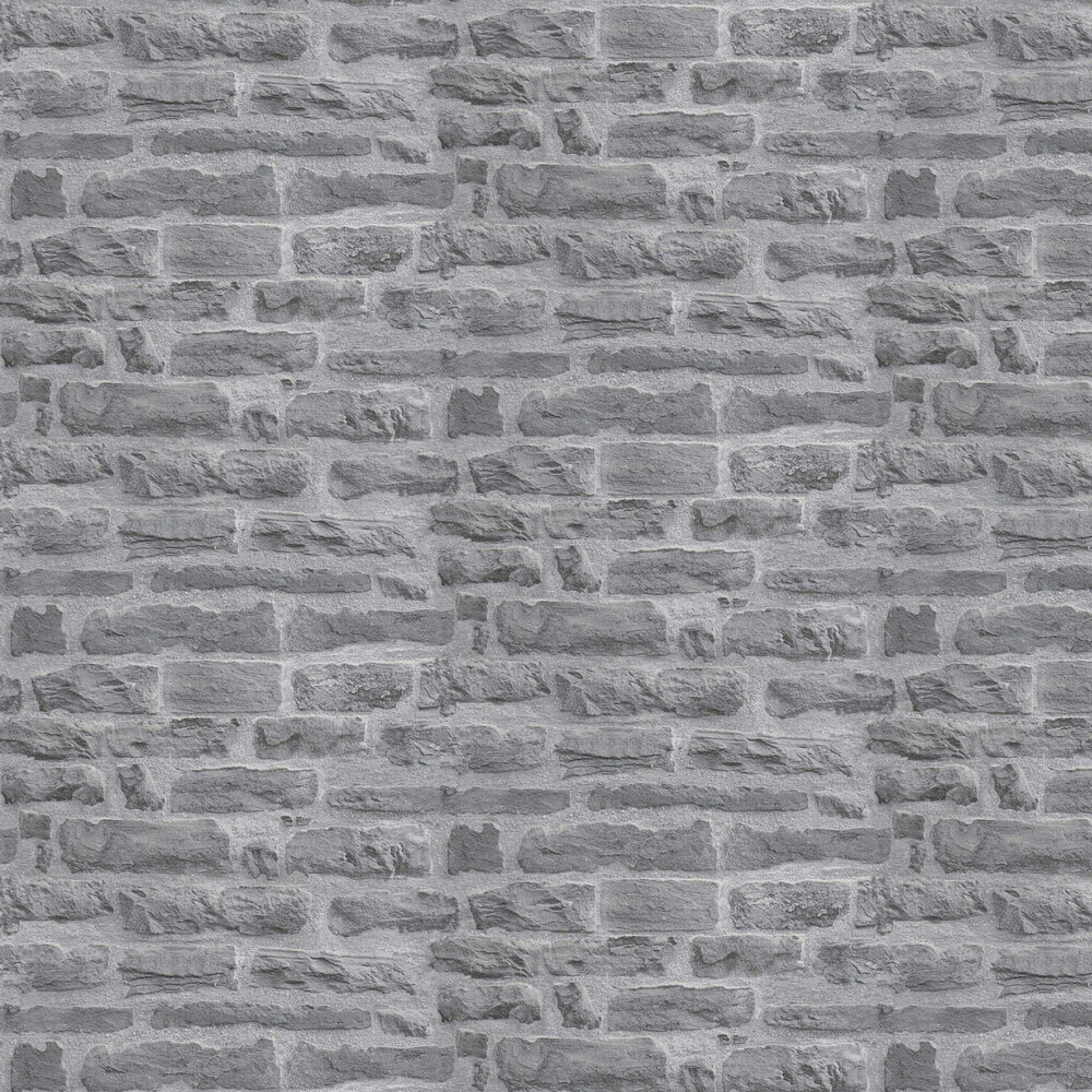 Faded Brick Wallpaper - Grey - by Albany