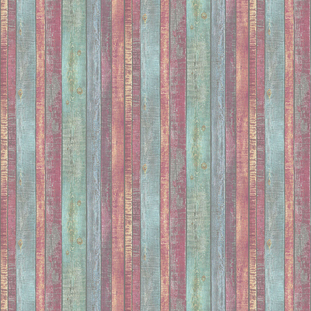 Painted Wood Wallpaper - Multi-coloured - by Albany