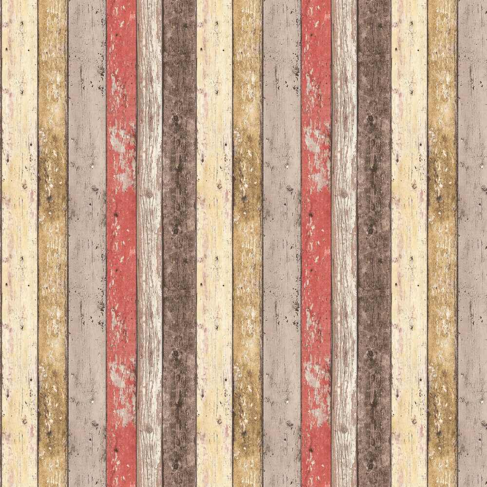 Wood Panelling Wallpaper - Red - by Albany