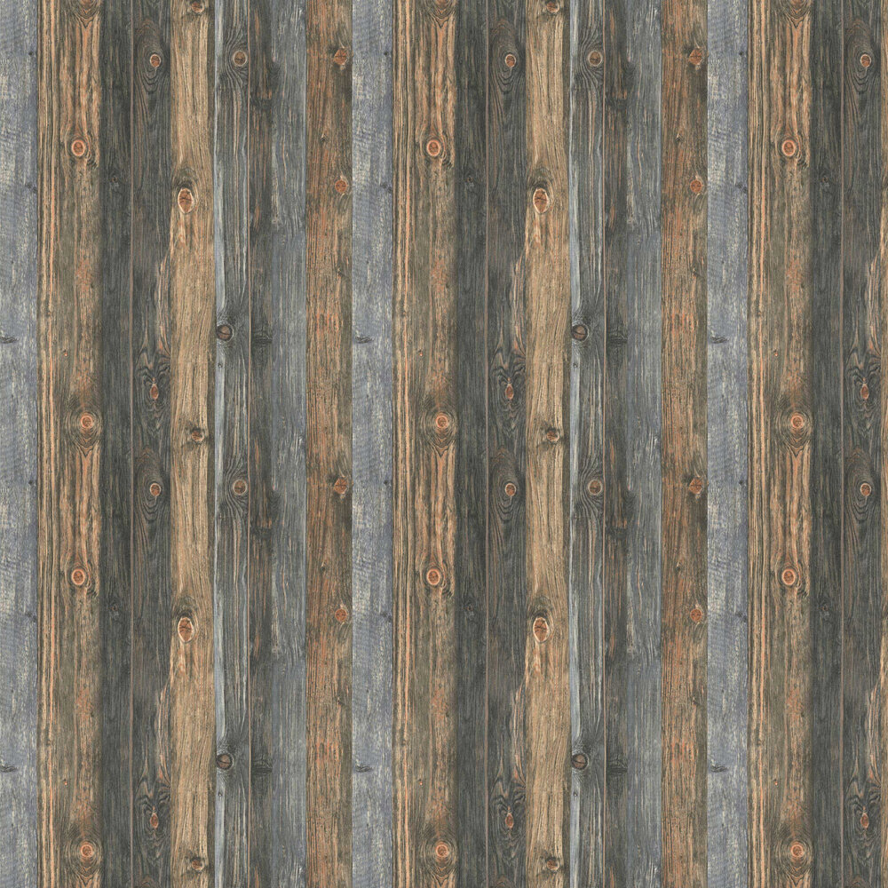 Knotted Wood Wallpaper - Blue / Brown - by Albany
