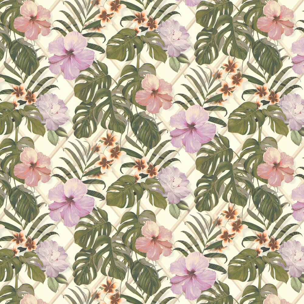 Tropical Flower Wallpaper - Pink / Green - by Albany