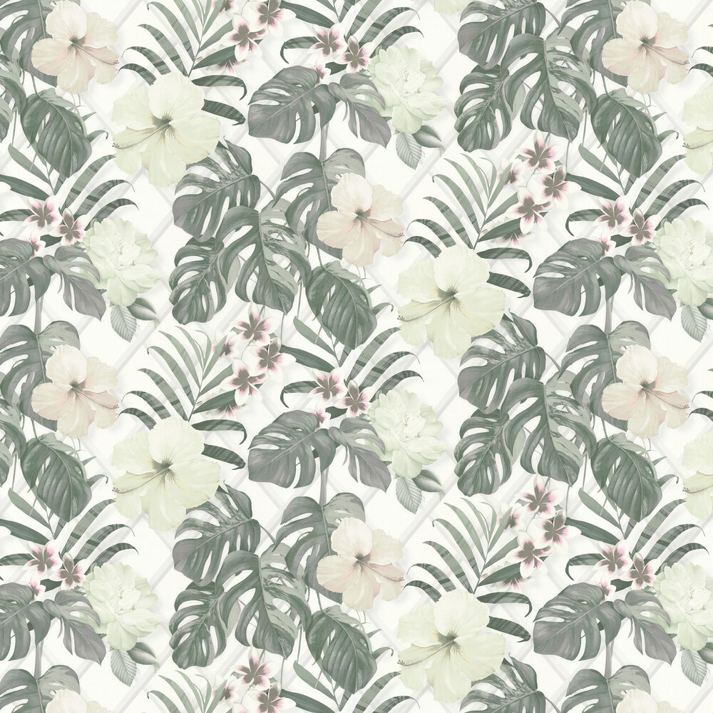 Tropical Flower Wallpaper - Grey / Green - by Albany