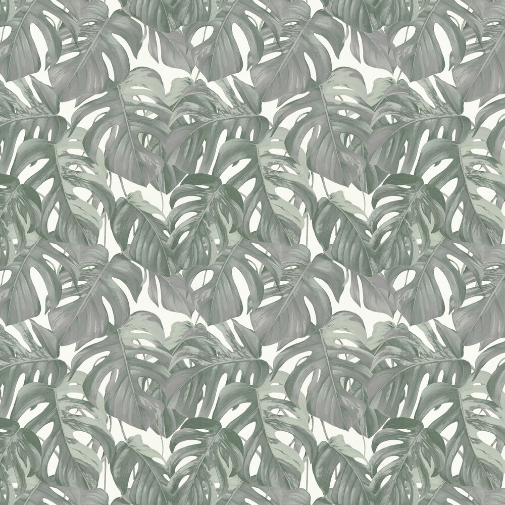 Jungle Leaves Wallpaper - Grey / Green - by Albany