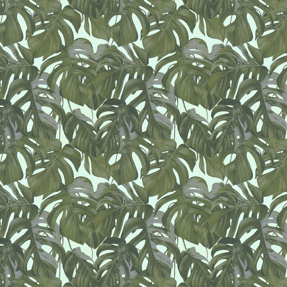 Jungle Leaves Wallpaper - Green / Blue - by Albany
