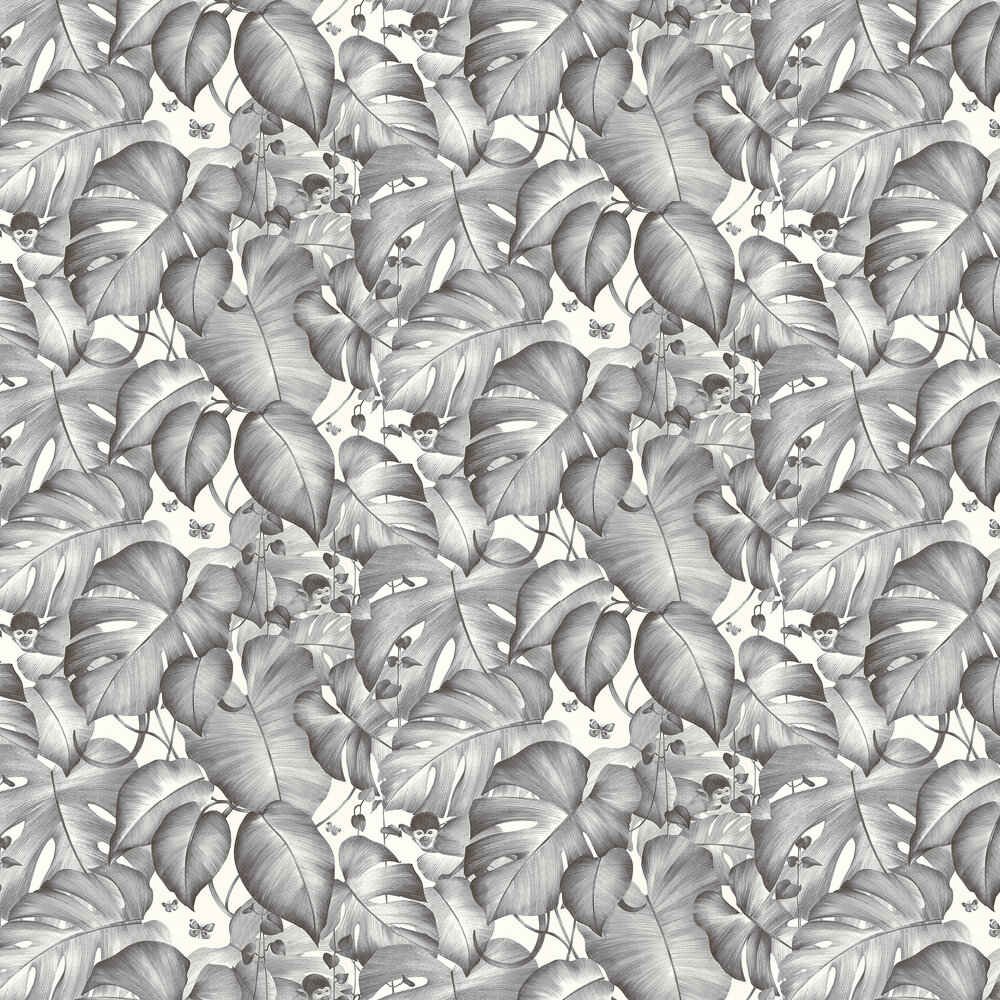 Monkey Jungle Wallpaper - Charcoal - by Albany