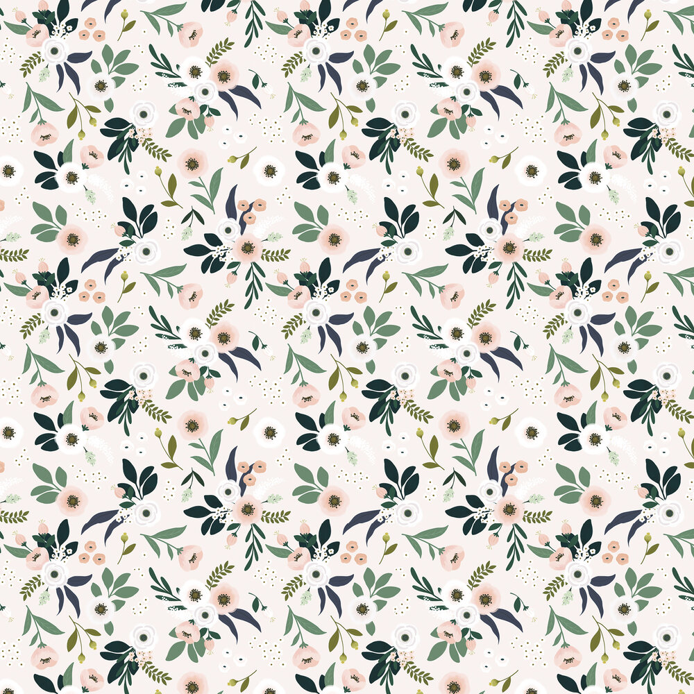 Flowers on Light Wallpaper - Multi-coloured - by Lilipinso