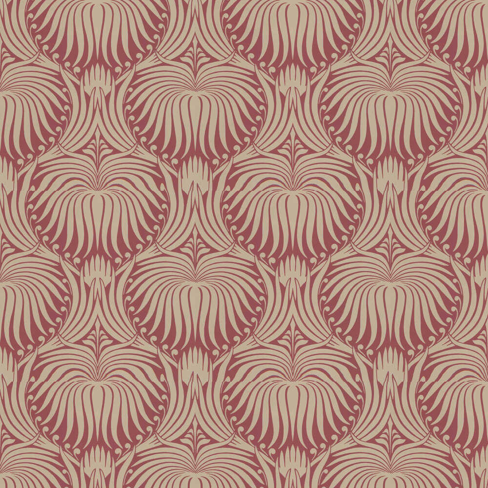 Lotus Wallpaper - Red / Gilver - by Farrow & Ball