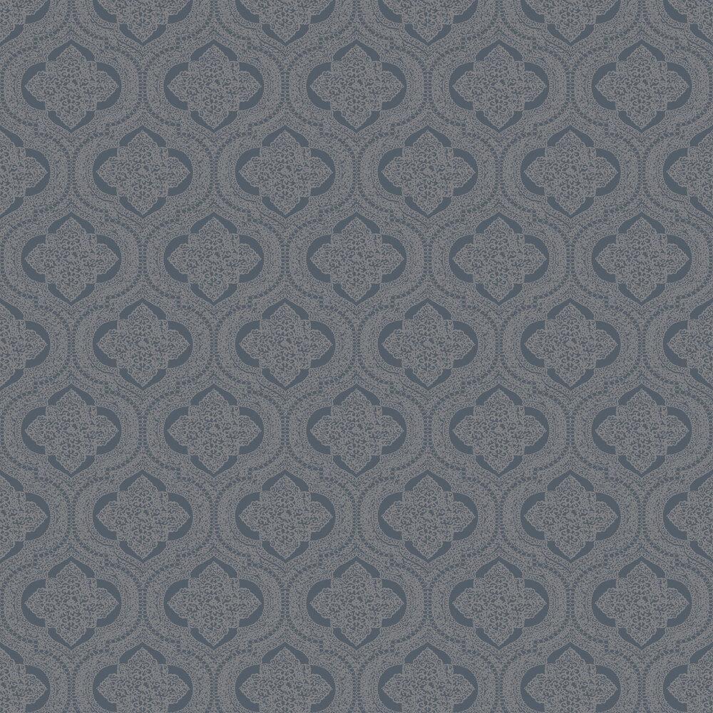 Damask Wallpaper - Dark Blue - by SK Filson
