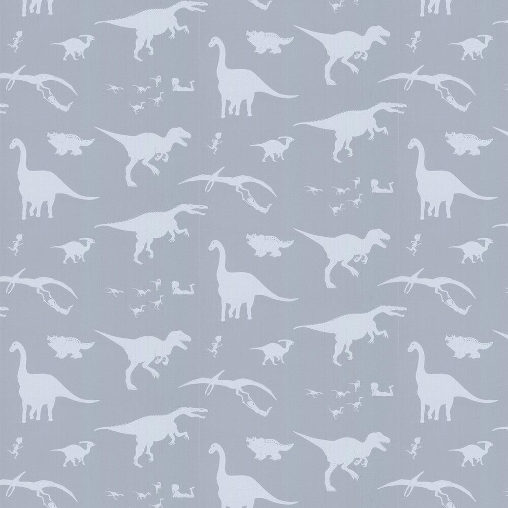 D'ya-think-e-saurus Wallpaper - Bone China Blue - by PaperBoy