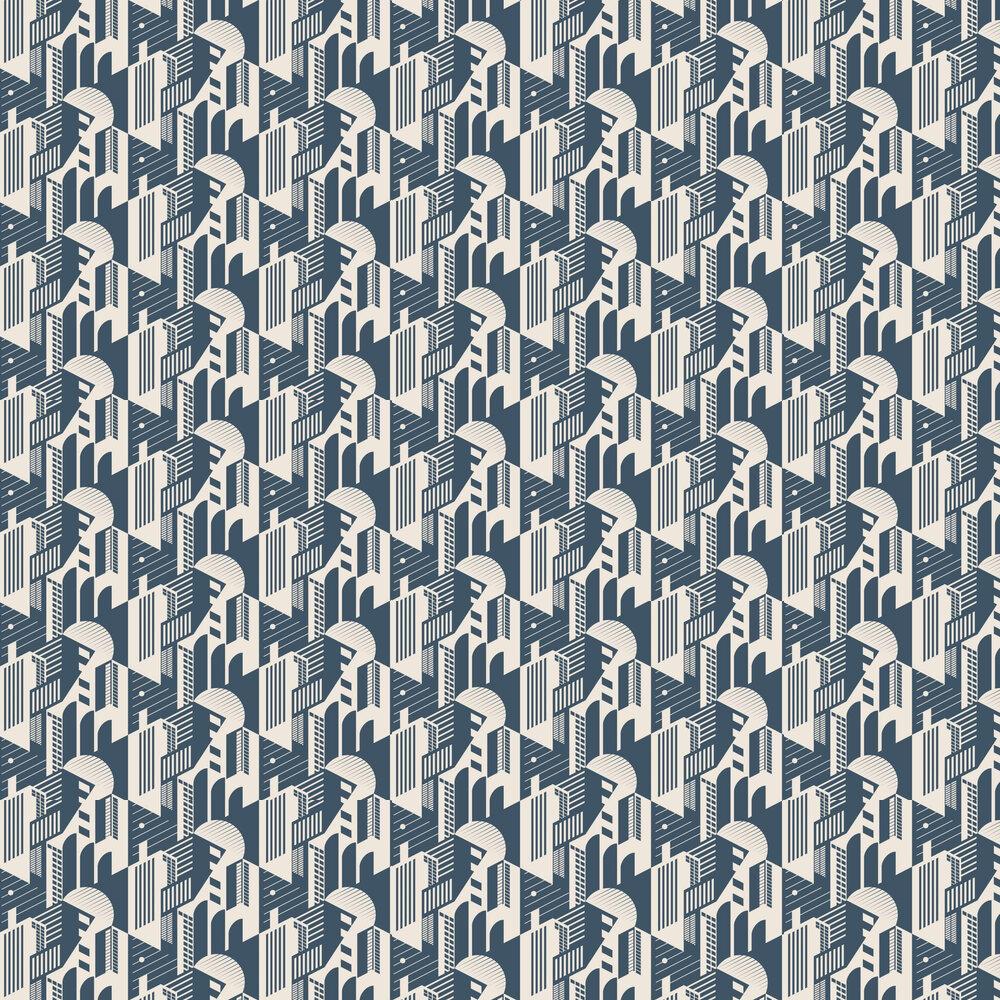 Mini Moderns Bauhaus Washed Denim Wallpaper - Product code: AZDPT044WD
