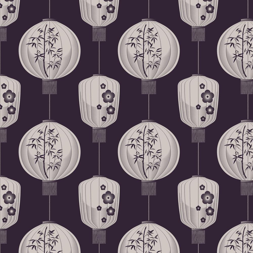 Lucky Lantern Wallpaper - Winter Plum - by Mini Moderns