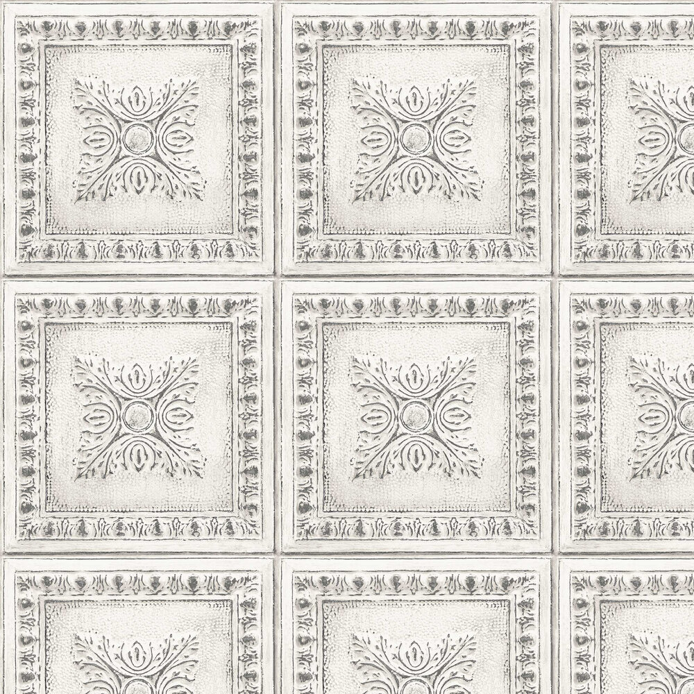Tin Tile Wallpaper - White - by Albany