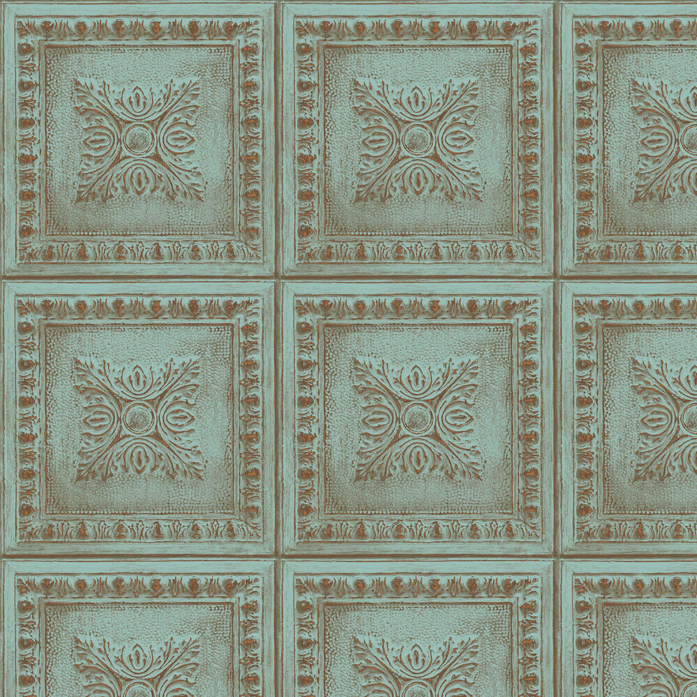 Albany Tin Tile Blue Wallpaper - Product code: 24032