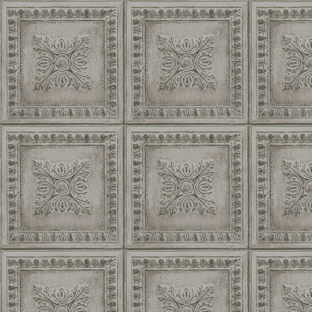 Tin Tile Wallpaper - Grey - by Albany
