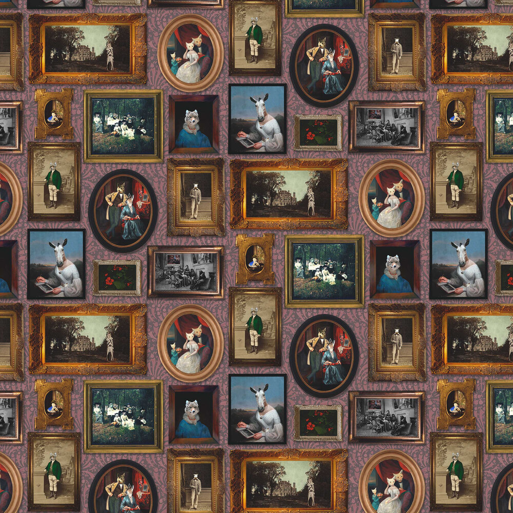 At the Art Gallery Wallpaper - Burgundy - by Graduate Collection