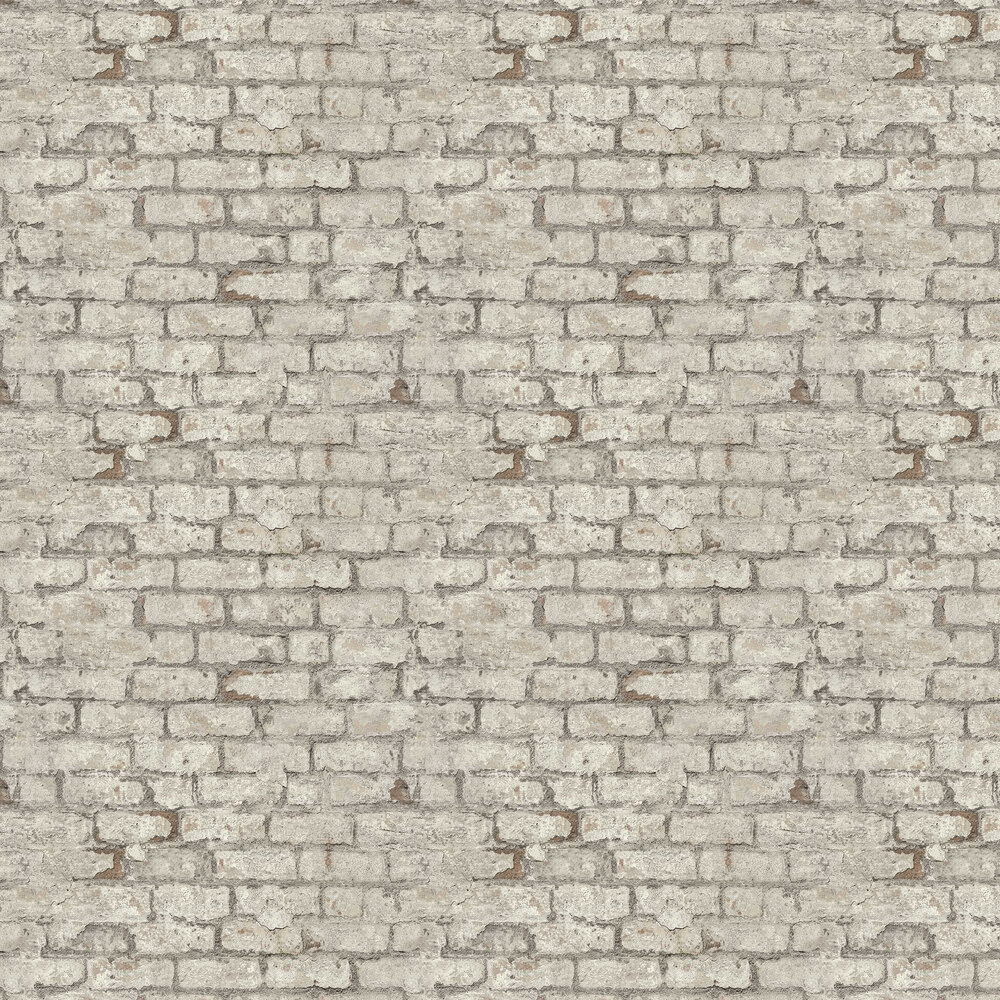 Industrial Brick Wallpaper - Off White - by Albany