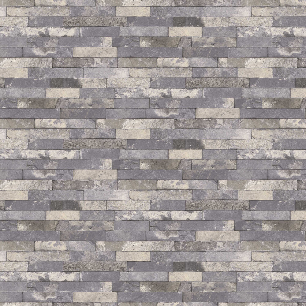Granite Brick Wallpaper - Grey - by Albany