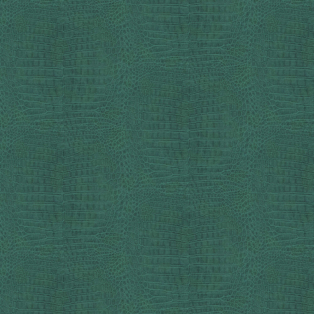 Crocodile Pattern Wallpaper - Teal - by Albany
