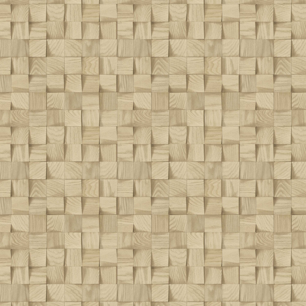 Wooden Blocks Wallpaper - Brown - by Albany