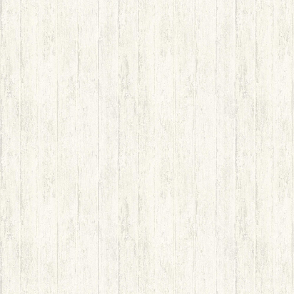 Distressed Decking Wallpaper - White - by Albany