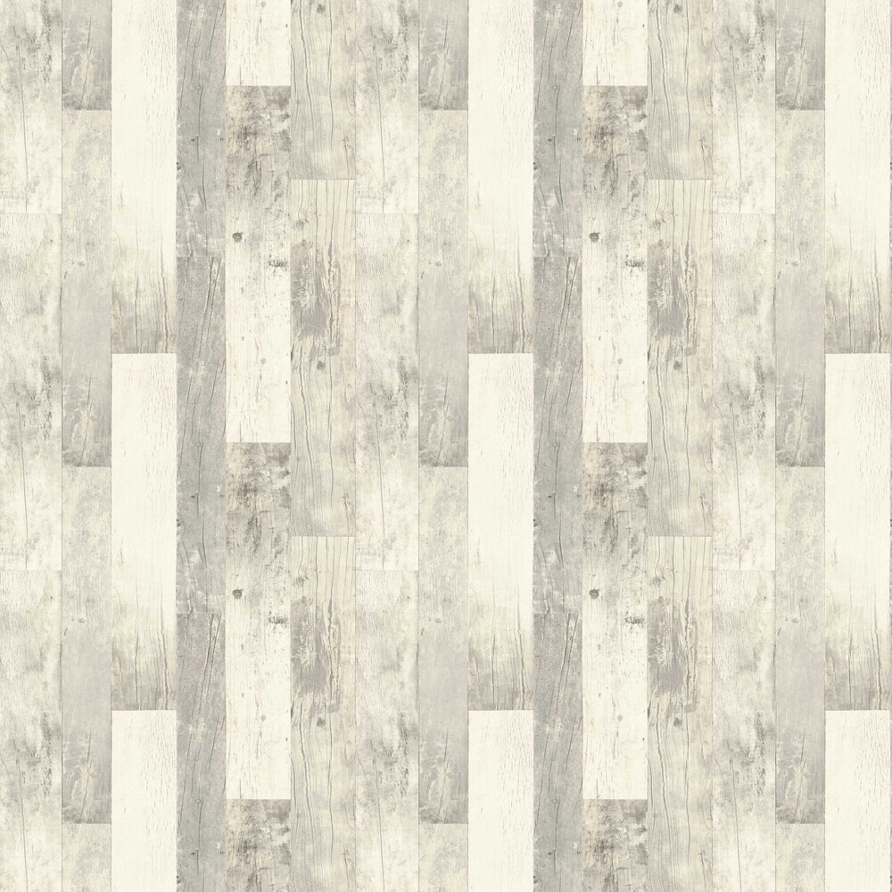 Country Wood Wallpaper - White - by Albany
