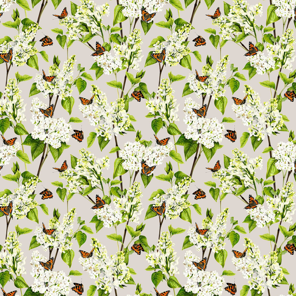 White Lilac Wallpaper - Grey - by Isabelle Boxall