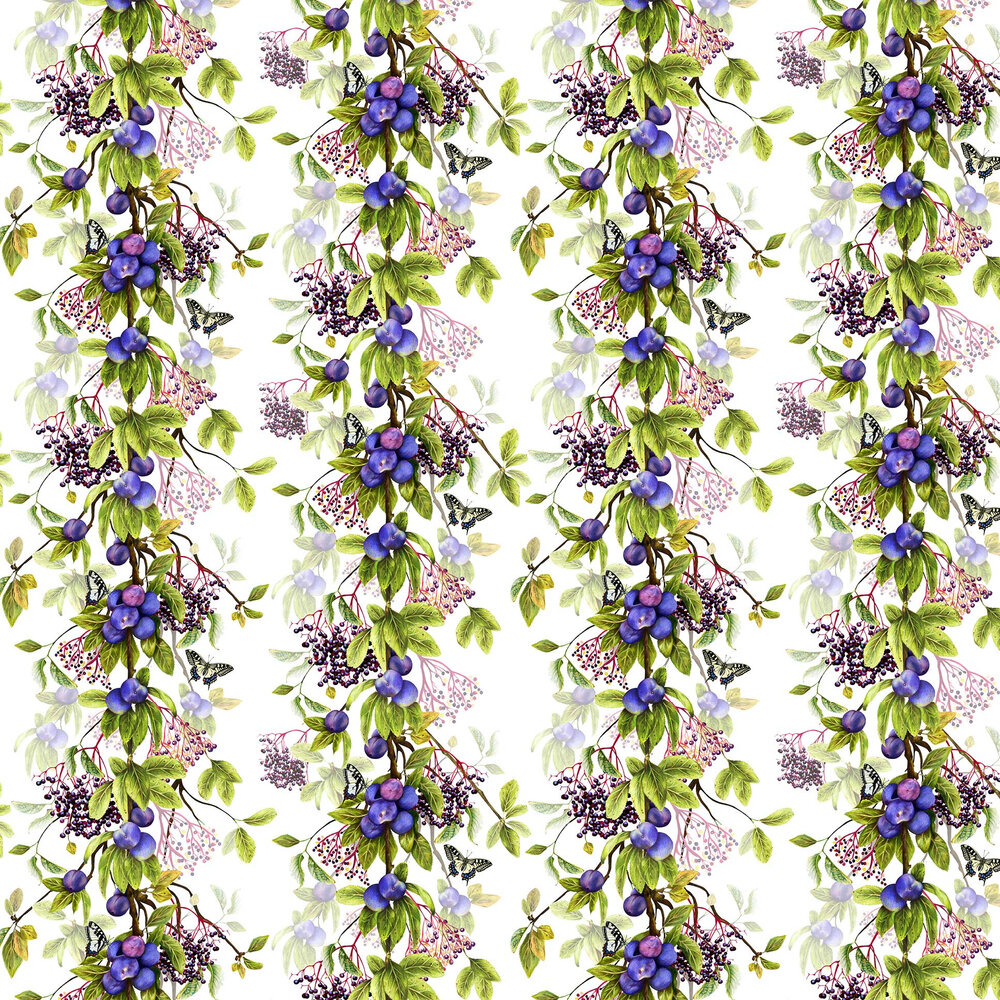 Isabelle Boxall Damson White and Purple Wallpaper - Product code: IB5005