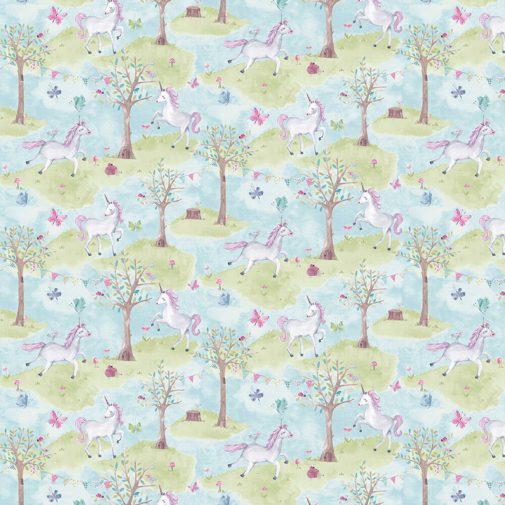 Grandeco Unicorn Wood Blue / Green Wallpaper - Product code: LO2102