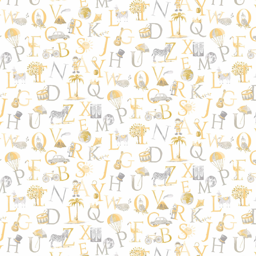 Grandeco Alphabet Grey / Yellow Wallpaper - Product code: LO2302