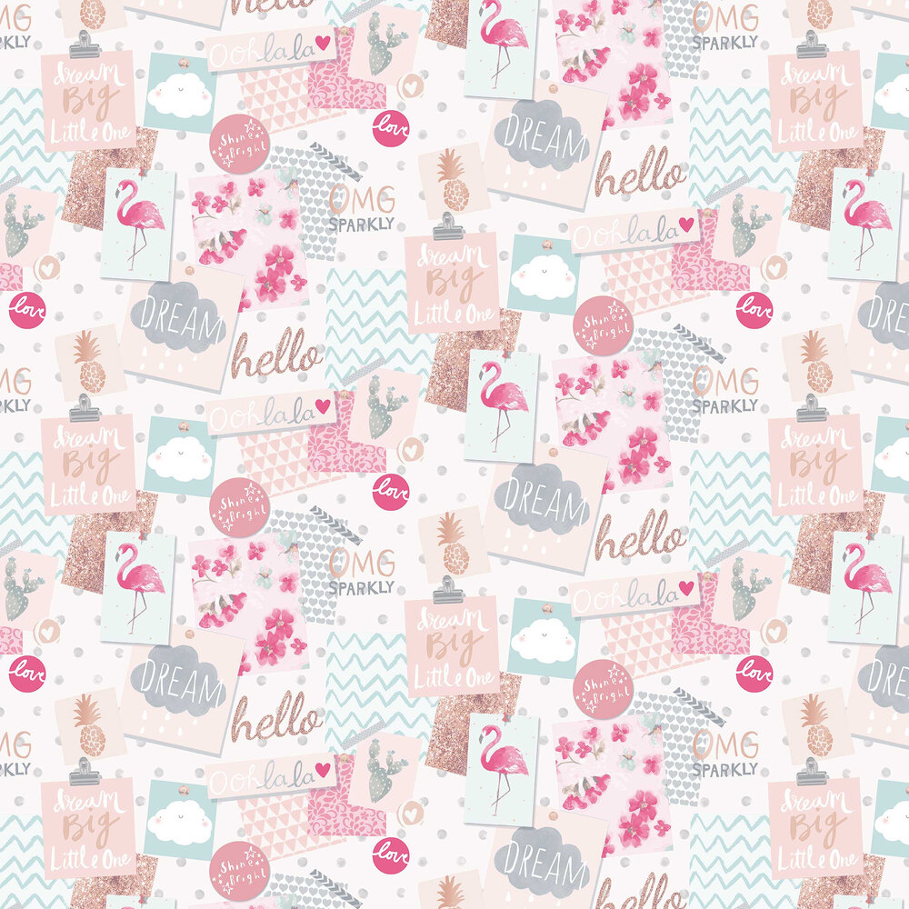 Dream Pinboard Wallpaper - Pink - by Grandeco