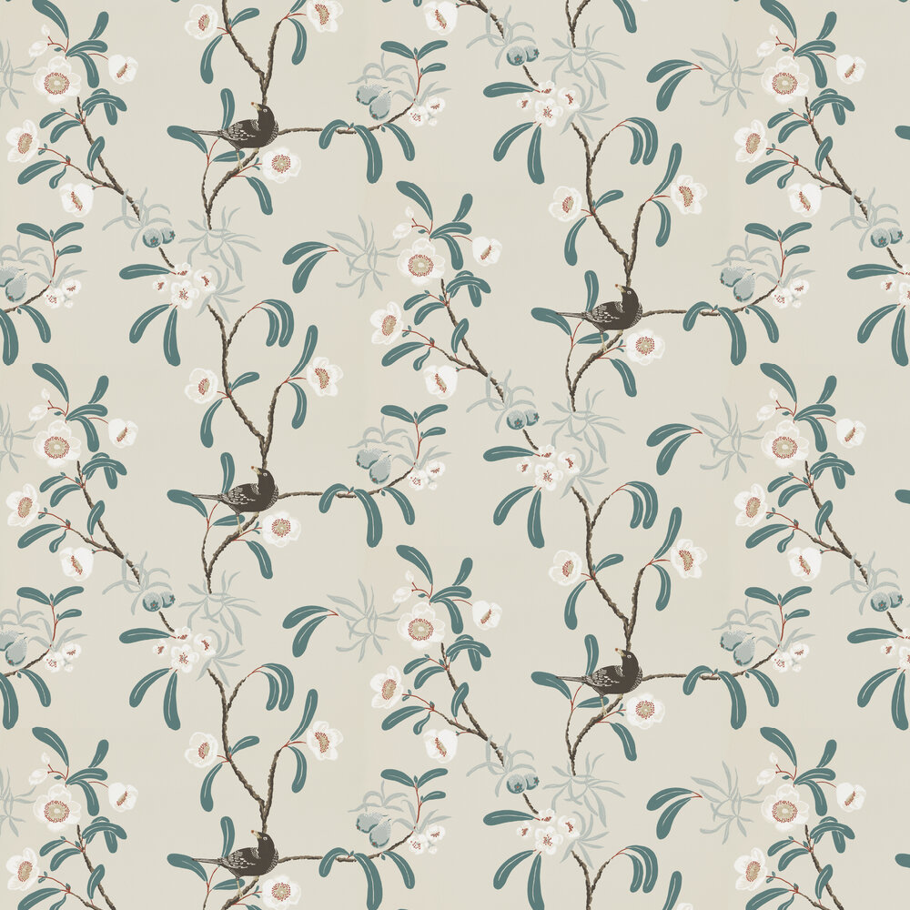 Sandberg Antonia Turquoise / Grey Wallpaper - Product code: 104-21