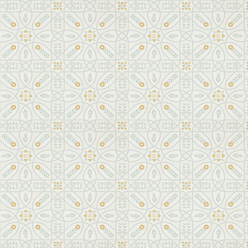 Brophy Trellis Wallpaper - Ivory Sage - by Morris