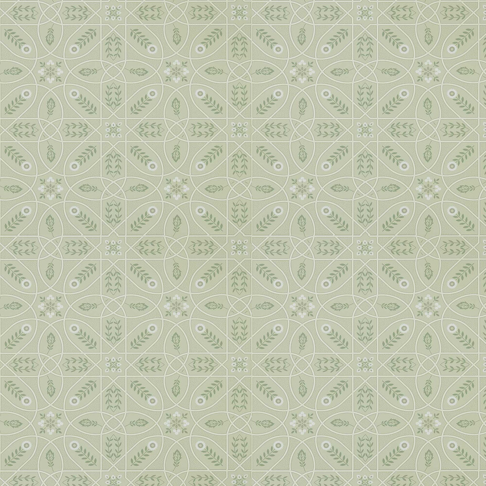 Brophy Trellis Wallpaper - Sage Linen - by Morris
