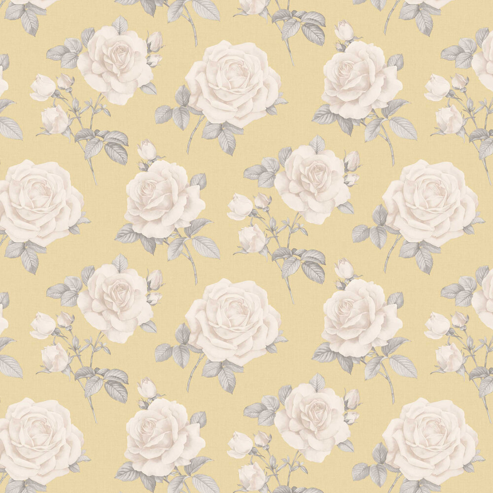Rosa Wallpaper - Yellow - by Albany