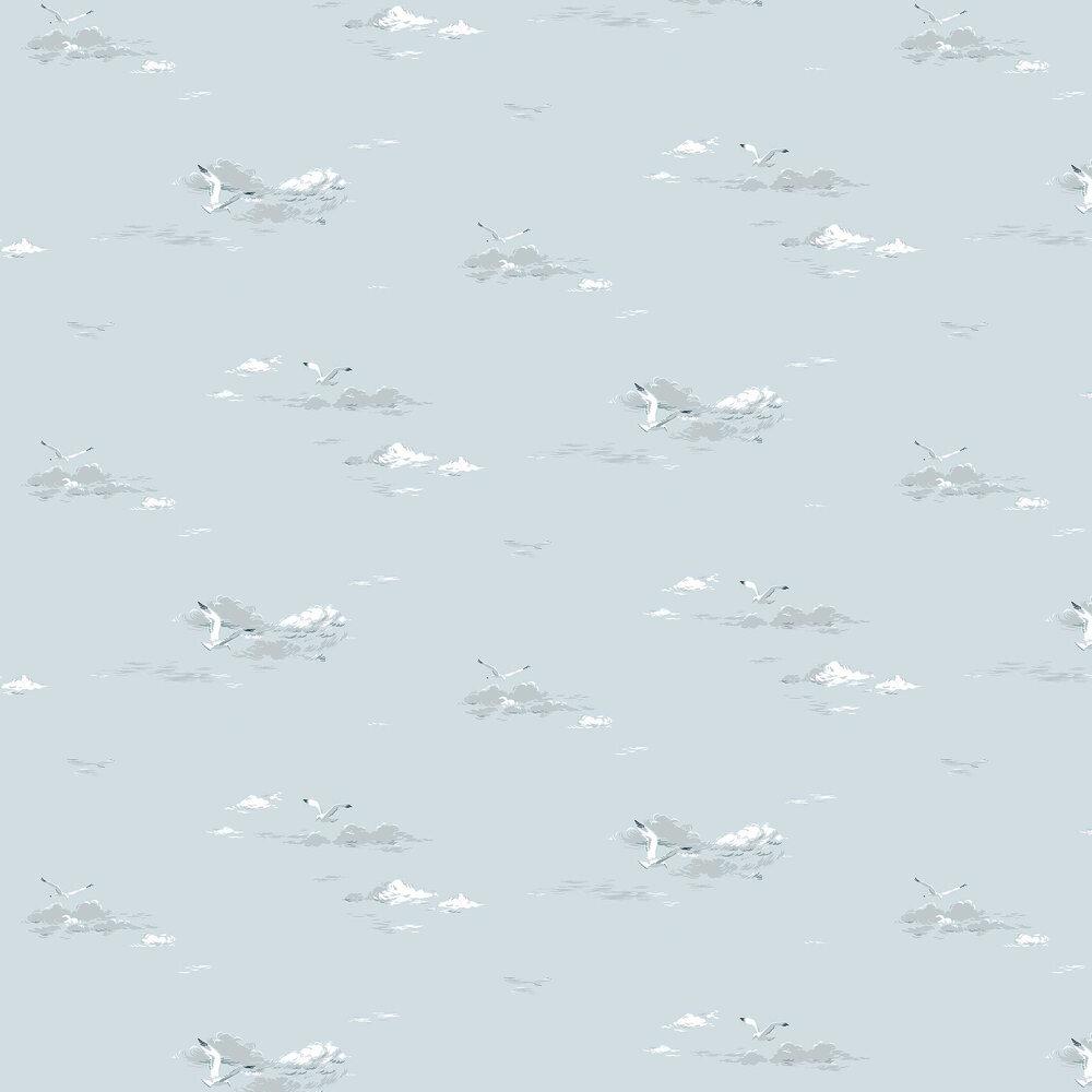 Seagulls Wallpaper - Light Blue - by Boråstapeter