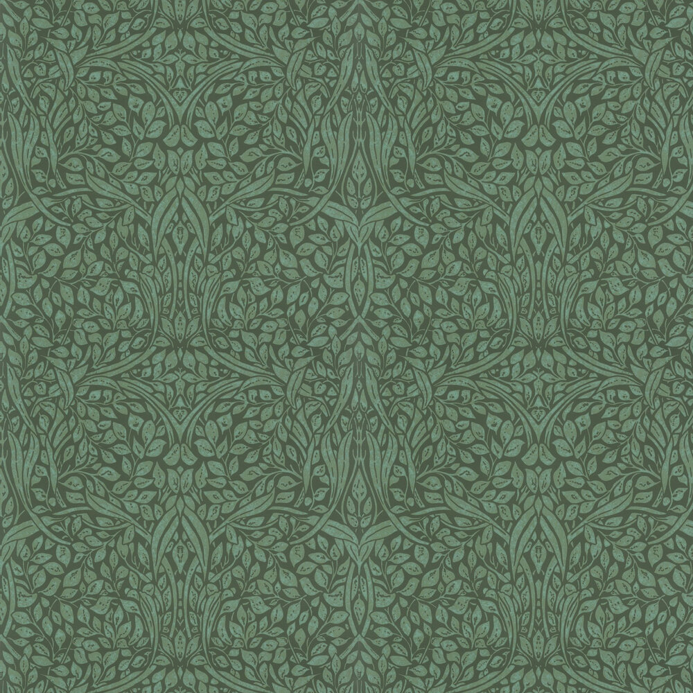 Swirling Leaves Wallpaper - Green - by Eijffinger