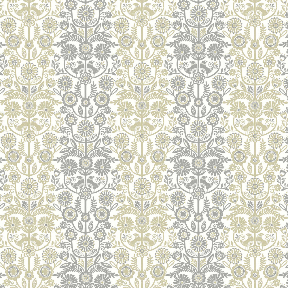 Lovebirds Wallpaper - Grey / Beige - by A Street Prints