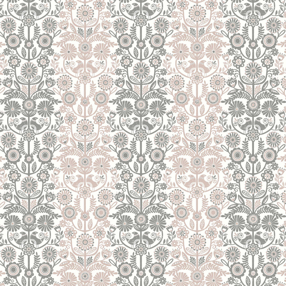 A Street Prints Lovebirds Grey / Pink Wallpaper - Product code: FD25105