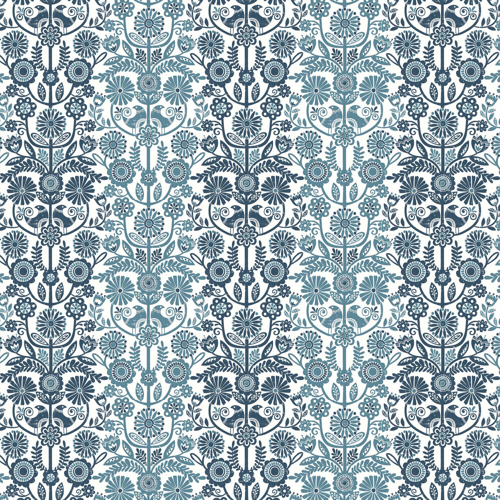 Lovebirds Wallpaper - Blue - by A Street Prints