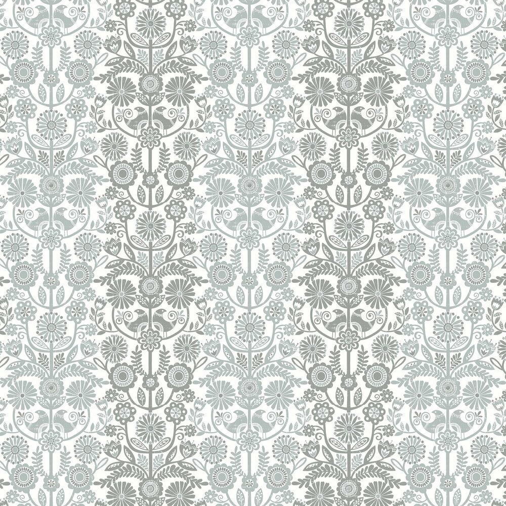 Lovebirds Wallpaper - Grey - by A Street Prints