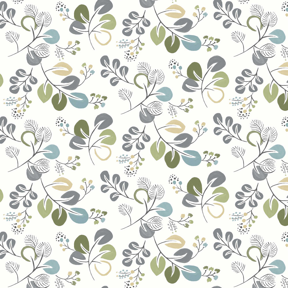 Jona Wallpaper - Blue / Green - by A Street Prints