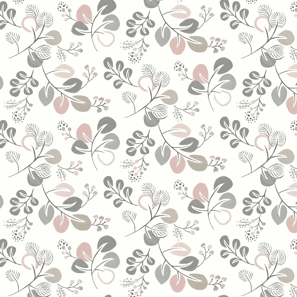 Jona Wallpaper - Grey / Pink - by A Street Prints