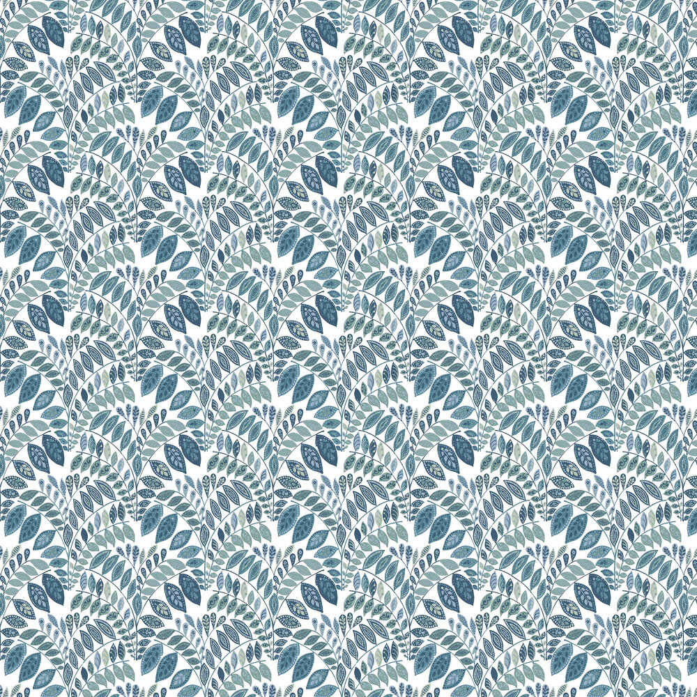 Fiddleheads Wallpaper - Blue - by A Street Prints