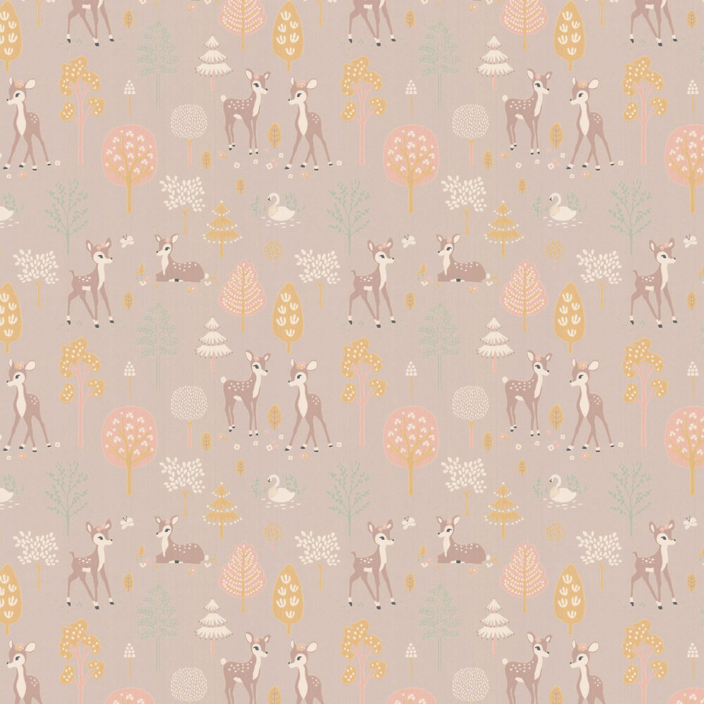Golden Woods Wallpaper - Dusty Lilac - by Majvillan