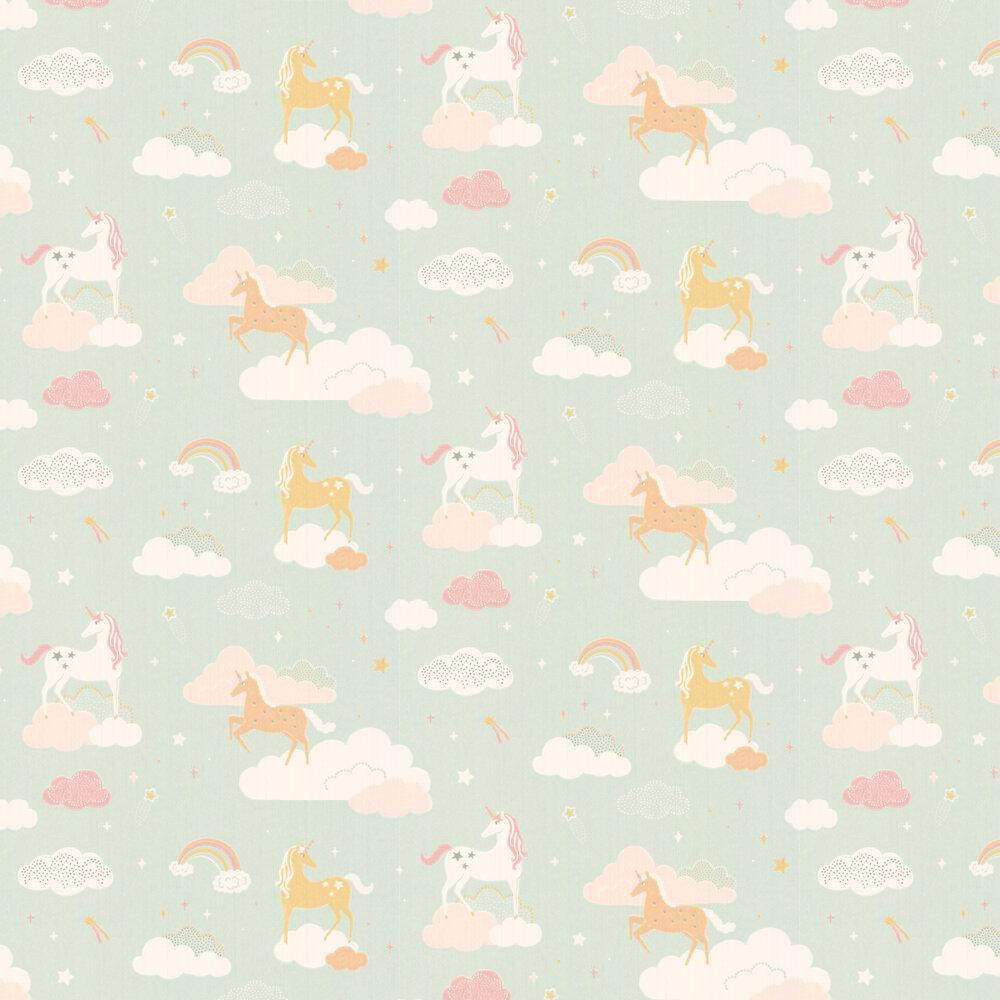 Majvillan Rainbow Treasures Bubblegum Turquoise Wallpaper - Product code: 129-02