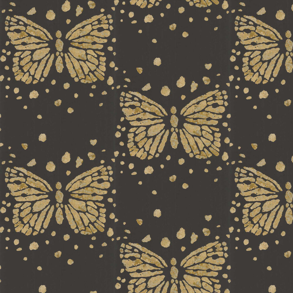 Les Messagers Wallpaper - Black and Gold - by Christian Lacroix