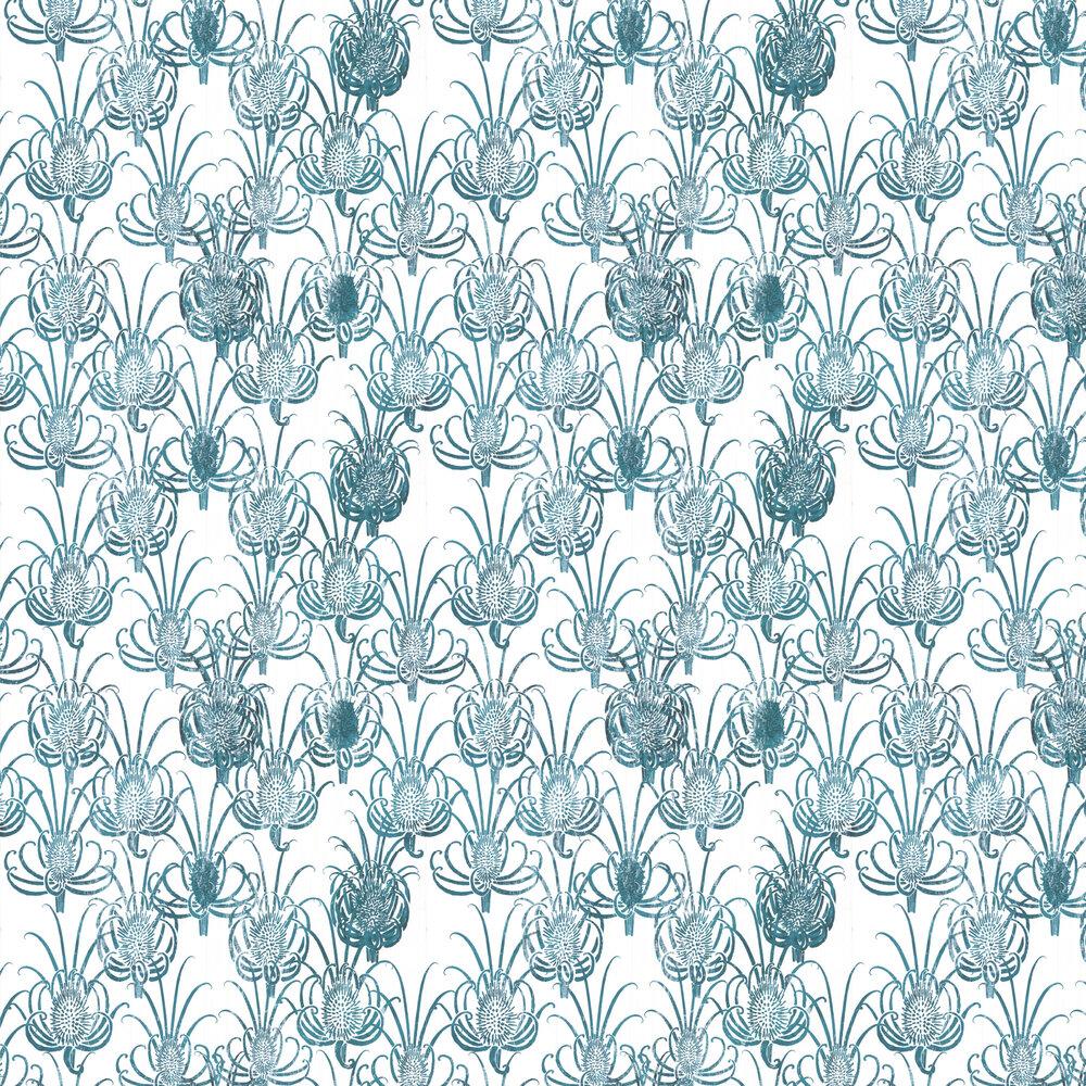 Les Centaurees Wallpaper - Teal/ White - by Christian Lacroix