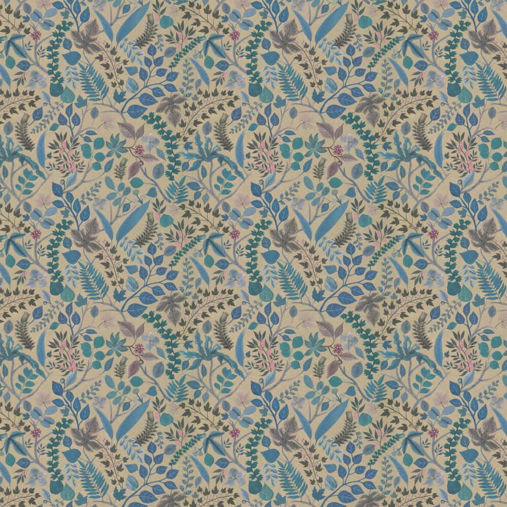 Cueillette Wallpaper - Blue/ Gold - by Christian Lacroix